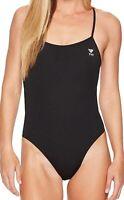 TYR Women's 181975 Solid Trinityfit Black One Piece Swimsuit Size 34