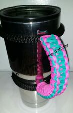 Paracord Handle for 40oz, 30oz or a 20oz Yeti, Rtic, & Ozark Turquoise & Pink