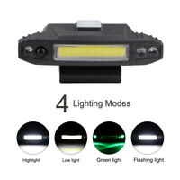 Rechargeable Sensor COB LED Clip-on Cap Hat Head Light Lamp Fishing Camping USB