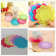 Rose floral Silicone Coasters Bar Table Place Mats Drink Cup Placemat-2sizes