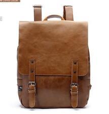 01 Mens school Leather College book Backpack Rucksack students Travel Hiking Bag