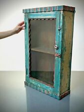 ANTIQUE VINTAGE INDIAN ART DECO DISPLAY BATHROOM CABINET. TURQUOISE, CORAL.