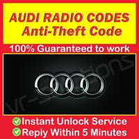 AUDI RADIO CODE A2 TT A8 A6 A3 Q7 A4 CD A7 A5 A1 Concert Chorus Symphony