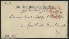 Uk Gb 1894 Official Post Office Ohms Cover Official Paid London Ap 19 94 In Red