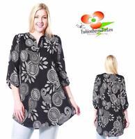PLUS Siz Black Boho Bohemian 3/4 Sleeve Paisley Peasant Tunic Shirt Top 1X 2X 3X