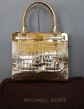 MICHAEL KORS Gold Snakeskin EMBOSSED Leather BLAKE Satchel Purse