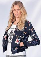 Kaleidoscope Blue Floral Print Bomber Jacket Size UK 16 Zip Cropped Ladies NEW