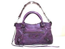 Authentic BALENCIAGA Purple The First 103208 Leather Handbag w/ Dust Bag/Strap