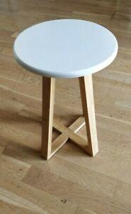 Viborg Round Stool, Bamboo - White