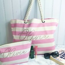Personalised Stripe Canvas Beach Bag For Ladies Girls Honeymoon Gift Hen Present