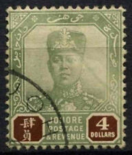Malaysian State Jahore 1918-20 SG#100 $4 Green And Brown Used #D46134