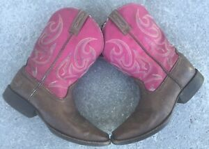 Ariat 4LR Square Toe Brown & Pink Leather Distressed Western Boots Size 7