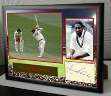 "Viv Richards Cricket Framed Canvas Print Signed.""Great Gift or Souvenir"""