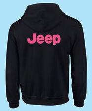 Motor Sports Hot Pink Print Jeep Off Road Black Hooded Sweat Shirt Gildan