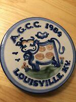 M A Hadley Pottery Trivet / Wall Hanging: Cow Bull Farm AGCC 1984 Louisville, KY