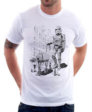 StormTrooper dog waling Star Wars Darth Vader funny white t-shirt 9770