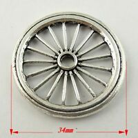 09899 Antique Style Silver Tone Alloy Cute Wheels Charm Pendant Finding 8pcs