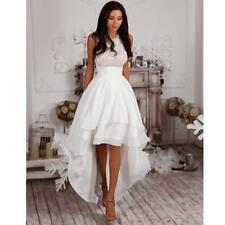 Hi Lo Satin Wedding Dress Summer Short Bridal Gown Custom Size 8 10 12 14 16 18