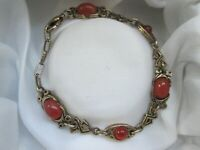 Vintage Signed Miracle Gold Tone Celtic Knot Orange Glass Panel Link Bracelet