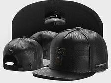 Hip hop Black leather CAYLER SONS lock Snapback Adjustable Baseball Cap rock hat