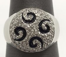 Sterling Silver Cubic Zirconia Cluster Black Enamel Spiral Round Cocktail Ring 7