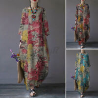 ZANZEA UK Women Long Sleeve Retro Floral Printed Casual Loose Kaftan Maxi Dress
