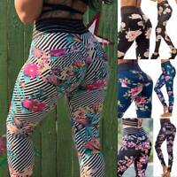 Womens High Waist Yoga Pants Push Up Leggings Ruched Fitness Sports Gym Workout