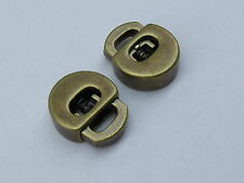 2 Stück Kordelstopper Stopper Gurtstopper aus Metall altmessing  NEU rostfrei