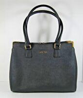 Calvin Klein NEW $248 Black Small Saffiano Leather Satchel Hand Bag Zip Close