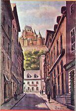 vtg 1960s Quebec City map tourism brochure J. Diamani art work Carnaval brochure