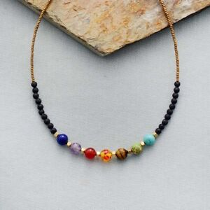Beautiful Natural Stone 7 Chakra Lava Stone Bead Necklace Bracelet Healing Reiki