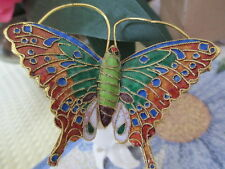 CLOISONNE BUTTERFLY ~ WINE STOPPER ~ COPPER AND GREEN MARKINGS