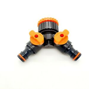 Hose Pipe Splitter 2 way Connector Adaptor Garden Tap Individually Switched New