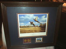 Signed DAVID A. MAASS Autumn Roosters  1999 Conservation Ltd Edition w/Coins