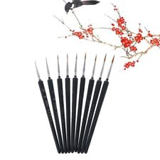 Professional Wolf Hair Detail Paint Brush Set 9 Sizes Fine Detailing Painting