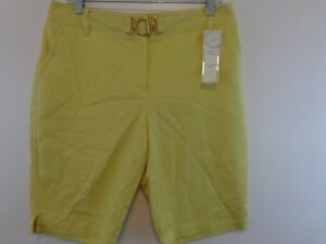 CHARTER CLUB Women Tummy Slimming Classic Fit Shorts Sz 10 Yellow New With Tags