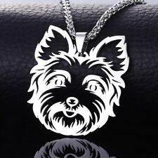 Stainless Steel Yorkshire Yorkie Terrier Head Pet Dog Tag Charm Pendant Necklace