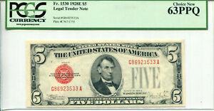 1928-E $5 Legal Tender Note G86923533A PCGS Choice New 63PPQ