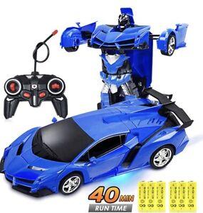 Kids Car Transformation Robots RC Vehicle Model Robots Deformation Boys Toy Blue