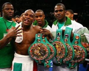 FLOYD MAYWEATHER JR 8X10 PHOTO BOXING PICTURE WITH 6 BELTS