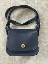 COACH Vintage Navy Blue Leather Flap Legacy Trail Crossbody #9965