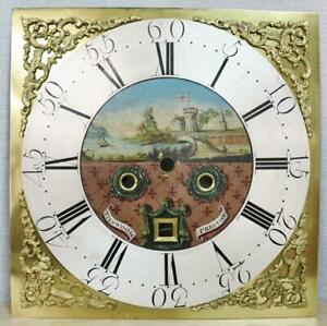 """Antique English 18thC 12"""" Brass & Silvered Square Grandfather Longcase Dial"""