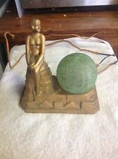 1929 Betty Beck art deco figural nude woman lamp.  Bronze color with green globe