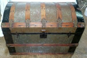 ANTIQUE 19th Century DOME TOP PRESSED TIN STEAMER TRUNK Humpback & contents