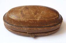 écrin boite à bijoux en cuir pour boucles d'oreille bouton 19e siècle  jewel box