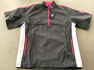 FootJoy Performance Short Sleeve Wind Shirt Chalk / Pink Medium