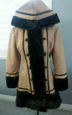 60's Vintage Mod Sears Fashions Brown Faux Fur Pea Coat Princess Wool Jacket XS