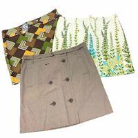 Ann Taylor Loft Mini Skirts Women's Size 14 Floral Geometric Solid NEW Lot of 3