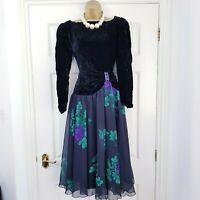VINTAGE PARIGI Black Velvet Grey Floral RaRa Bow Detail Evening Prom Dress UK 12
