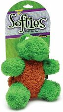 Petmate Softies Toy for Dog Medium Terry Cloth Green Turtle 6 inch w/ squeaker